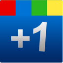 google, one, +1, plus, blue, square icon
