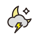 rain, night, weather, storm icon