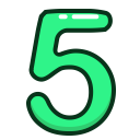 number, numbers, study, green, five icon