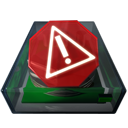warning, disk, wrong, usermount, save, disc, error, exclamation, alert icon