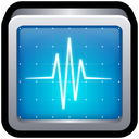 test, shield, monitor, activity icon