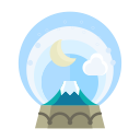 moon, cloud, mountain, decoration, christmas, decorate, snowglobe icon