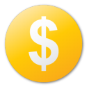 coin, currency, money, cash, yellow, dollar icon