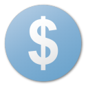 money, dollar, usd, currency, coin, cash, blue icon