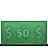 50, cash, dollars, dollar bill, money icon