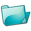 folder, cyan, open icon
