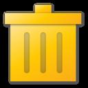 delete, trash, yellow icon