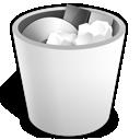 trash, full, white icon