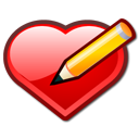 bookmark, pen, edit, love, heart icon