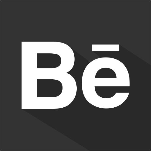 set, social, behance, flat, shadow, media icon