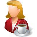 female, coffee, person icon