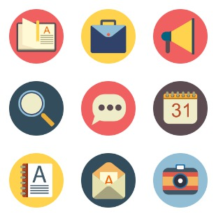 Mixed rounded flat icon sets preview