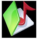 Folder music green icon