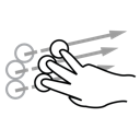 three, finger, flick, gestureworks icon