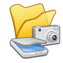 scanners, cameras, folder, &, yellow icon