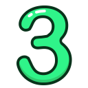 study, three, numbers, number, green icon