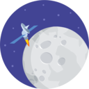 Moon with satelite icon