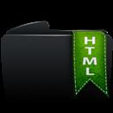 Black, Folder, Html icon