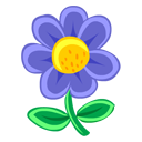 plant, flower, blue icon