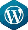 hexagonal, blue, wordpress, cms, blog icon