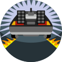 car, fire, vehicle, delorean, fast, back to the future icon