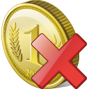 delete, coin icon