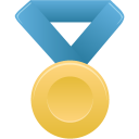 gold, metal, blue icon