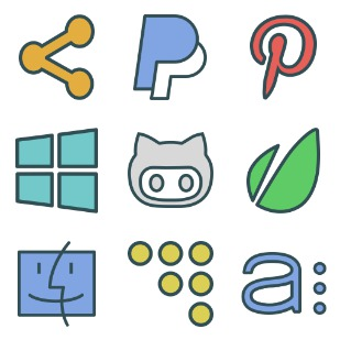 Brands Colored icon sets preview