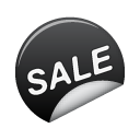 black, sticker, sale icon