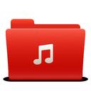 red, folder, music, new, soda icon