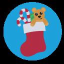 teddy, presents, stocking, christmas icon