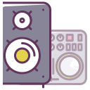volume, electronics, disco, dj, music, musical speaker, play icon