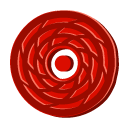 Cane, Disc, Red icon