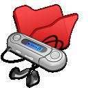 folder, red, mymusic icon