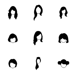 Stylized hair icon sets preview