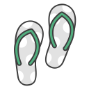 flats, flip flops, journey, travel, summer, sandals, vacation icon