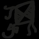 Kite hand drawn toy icon