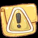 caution, folder icon