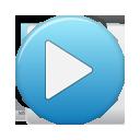 play, button, blue icon