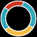 presentation, donut chart, schedule, diagram, black background icon