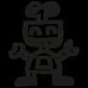 Robot hand drawn toy icon