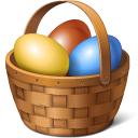 easter, basket, eggs icon