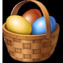 easter, basket, eggs icon