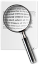 document, file, text, spyglass, search icon