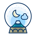 moon, decoration, snowglobe, decorate, mountain, cloud icon