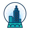 winter, decorate, decoration, city, snow, snowglobe icon