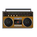 orange, boombox icon