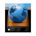 Drive, Globe, Wood icon
