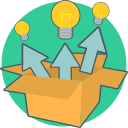 box, energy, think out of the box, creative, idea icon