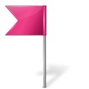 Map Marker Flag 4 Left Pink icon